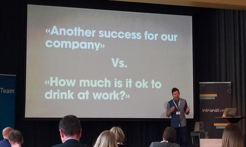 Onko firman menestyksen kannalta tärkeämpää ja merkityksellisempää viestiä intrassa viimeisimmästä onnistumisesta vai organisaation alkoholisäännöksistä?