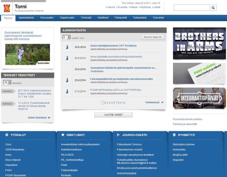 Puolustusvoimien Torni-intranetin etusivu 08/2014