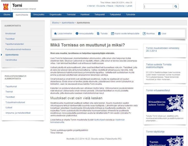 Puolustusvoimien Torni-intranetin sisältösivu 08/2014