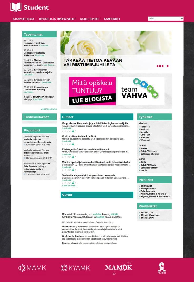 Kaakkois-Suomen ammattikorkeakoulu, Student-intran etusivu
