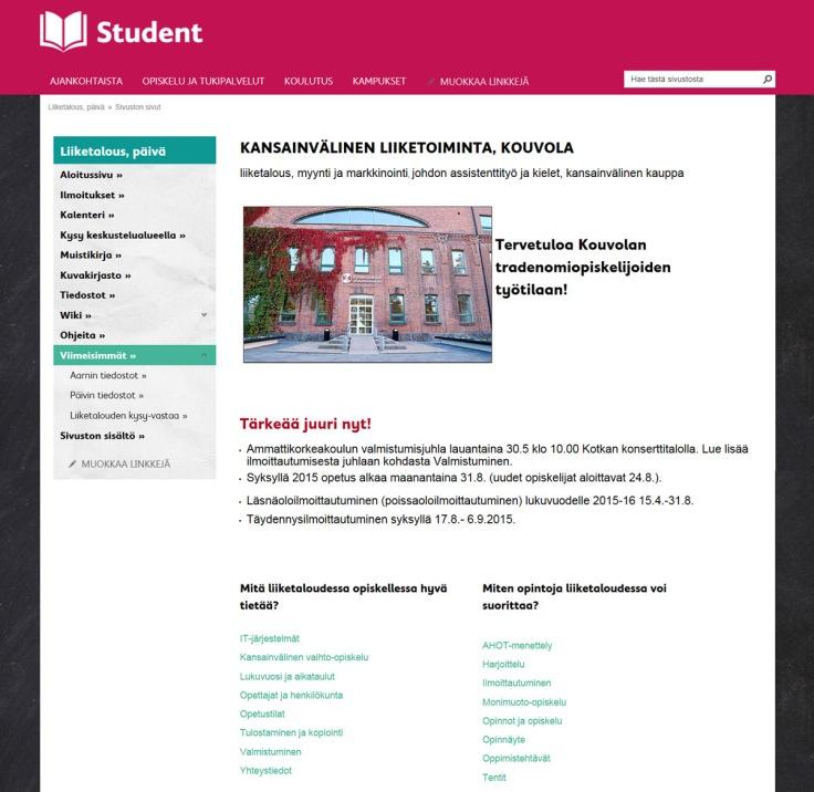 Kaakkois-Suomen ammattikorkeakoulu, Student-intran koulutussivuston etusivu: Kansainvälinen liiketoiminta