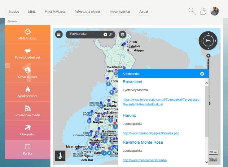 Maanmittauslaitoksen omaa paikkatietoaineistoa hyödynnettiin karttanäkymään. Esimerkki on Maanmittauslaitoksen intranetin etusivun välilehdestä 'Kartta'. Jos matkustat ennalta tuntemattomaan toimipisteeseen (jonnekin niistä 37:sta), täältä löytyvät mm. linkit lounaslistoihin.