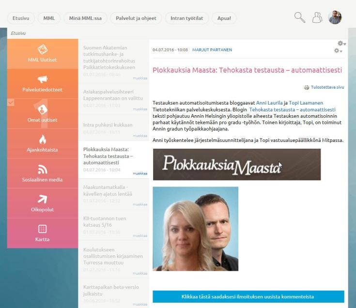 Esimerkki Maanmittauslaitoksen intranetin etusivun välilehdestä: 'MML Uutiset' -välilehdeltä avoinna eräs uutisartikkeli.