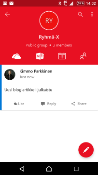 Outlook Groups -mobiilisovellus