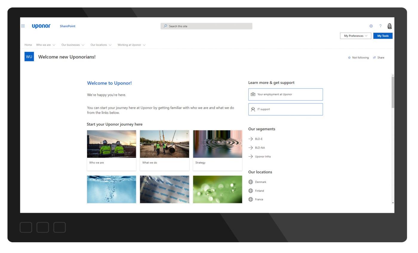 Kuvakaappaus Uponorin uusille työntekijöille suunnatusta sivustosta uudessa intranetissä. Sivusto ohjaa uudet työntekijät tutustumaan sisältöihin, jotka ovat muualla intranetin rakenteessa.